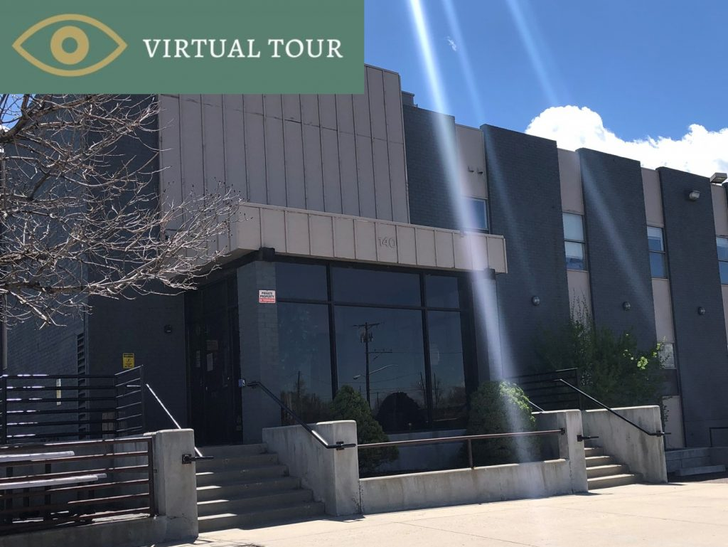 Image of front entrance of building, also hyperlinks to Virtual Tour of 140 Sheridan Blvd, Denver, CO.